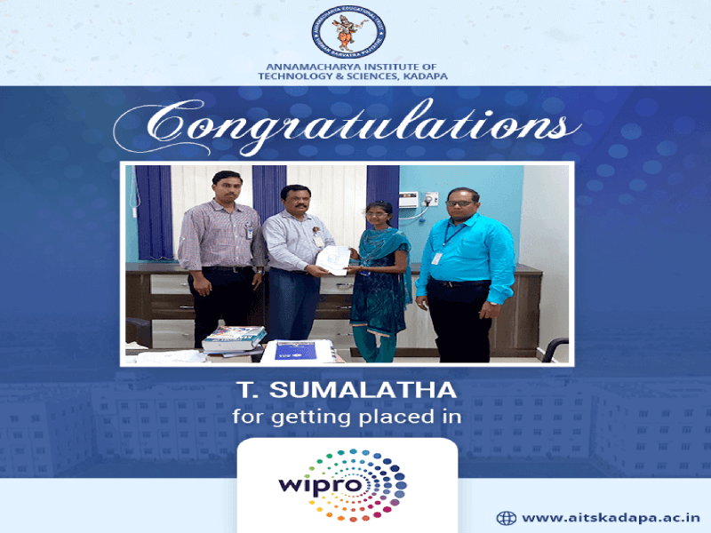 AITS, Kadapa Student Get Placed in Wipro